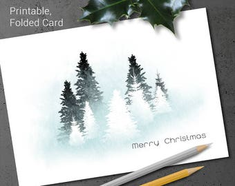 Watercolour Christmas Card Printable Winter Trees Icy Blue Haze Subtle Holiday Greetings Snowy Forrest Foldable DIY Woodland Card Download