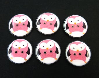 """6 Pink Owl handmade Sewing Buttons. 3/4"""" or 20 mm.  Decorative Novelty Craft Buttons.  Washer and Dryer Safe."""