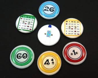 "7 Bingo Buttons. Handmade Buttons.  Bingo Card Sewing Buttons. 3/4"" or 20 mm round."