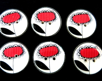 6 Red Striped Flower Buttons.  Choose Your Size.  Handmade Buttons.