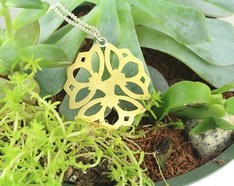 Hand Sawed Brass Flowal Pendant with Sterling Silver Chain