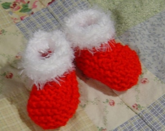French Santa Baby Booties Knitting Pattern PDF