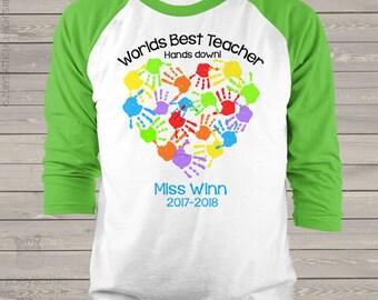 Worlds best teacher hands down personalized unisex raglan shirt for teachers  mscl-059-r