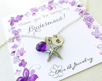 Personalized starfish anklet on bridesmaid proposal card, letter tag initial charm birthstone ankle bracelet Destination wedding bridal
