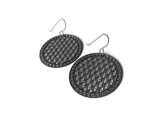 Silver flower of life dangle earrings - Hypoallergenic pure titanium and stainless steel