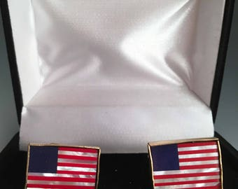 American Flag Mother of Pearl Cufflinks Cuff Links Gold Tone with Gift Box