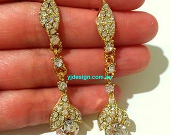 Leaves Bridal Earrings, Wedding Jewelry, Swarovski Crystal Wedding Earrings, Dangle Earrings, Bridesmaid Jewelry, Gift for Her, ARLENE