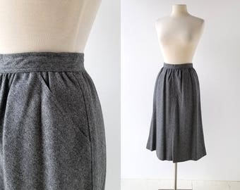 Evan-Picone Skirt | Gray Flannel Skirt | Skirt with Pockets | 26W XS