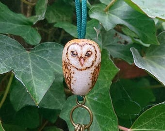 Barn Owl Necklace - Beech wood pyrography pendant, woodburning art - mori kei jewellery, handmade jewelry, egg shaped, acorn, keys, bird, 3d