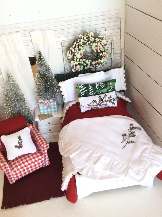 Miniature Woodland Winter Christmas Hand Embroidered Dollhouse Bedding and Hand Painted Sleigh Bed - Dollhouse scale 1:12
