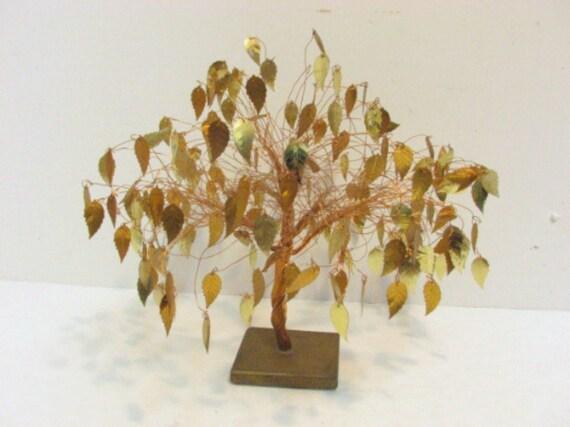 Vintage Gold Leaves Tree, Golden Leaf Wire Art Sculpture, Mid Century Decor
