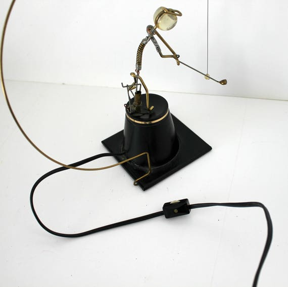 Vintage Bradt Kinetico Electric Golfer Wire Sculpture, Vintage Automated Desk Toy