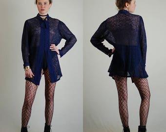 Draped Lace Blouse Vintage 40s Navy Blue See Through Lace Draped Blouse (m l)