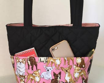 Chihuahua Bag Quilted with Magnetic Snap, Chihuahua Handbag, Chihuahua Tote, Outside Pockets, Inside Pockets
