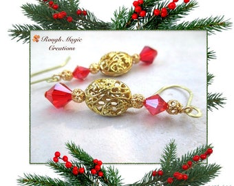 Elegant Holiday Earrings, Gold & Red Christmas Jewelry, Art Nouveau Long Dangles, Medieval Renaissance Filigree, Glam Twinkling Crystal E418