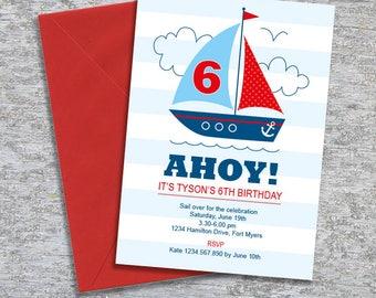 Nautical Sailboat Party Invitation – DIY Printable Personalized – Blue Boy (Digital File)