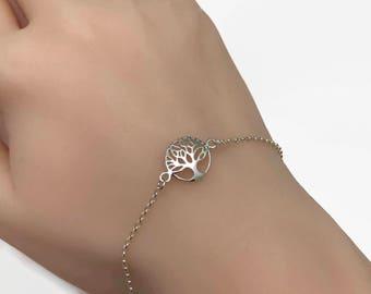 Sterling Silver Tree of Life Bracelet - Adjustable Bracelet, Family tree bracelet, Silver bracelet, Mothers Gift, Gift for Mum