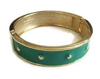 Green Enamel Bangle Bracelet Vintage Polka Dot