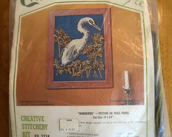 Vintage 60s 70s Bucilla Creative Needlecraft Dead Stock Marshbird Kit