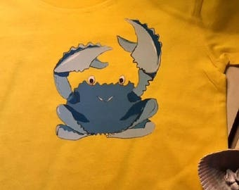 Blue Crab Tee Shirt, Summer Tee, Boys tops, Girls top, Beach Wear, Kids tops