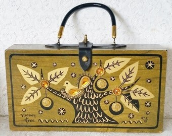 Vintage 1966, Enid Collins, Olive Green, Wooden Box Handbag, Money Tree
