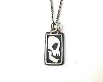 laughing skull pendant, sterling silver, hand made necklace, stylized skull pendant, skull necklace, rectangle skull pendant
