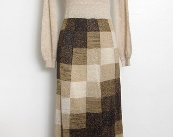 Wenjilli Maxi Dress / Gold Metallic & Brown Checkerboard Acrylic Knit / Vintage 70s Sweater Dress