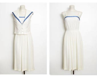 1970s Sailor Dress Set / Off White Terry cloth w/ Blue Stripes / Vintage 70s Jerell of Texas 2 Pc. / Sundress & Jacket / Top