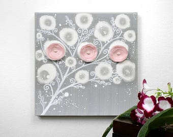 Gray and Pink Nursery Art - Canvas Flower Painting for Baby Girl - Small 10x10