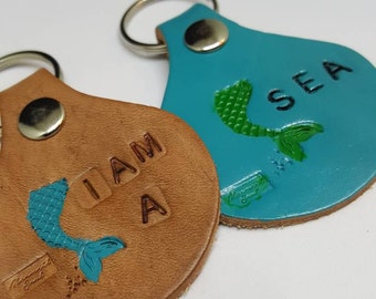 Mermaid tail round leather keychain, I am a Mermaid Keychain, Mermaid tail leather keychain, Mermaid Soul, round leather keychain