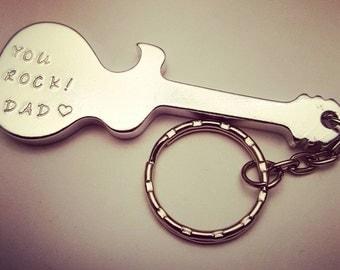 Aluminum guitar bottle opener keychain, groomsmen gift, anniversary gift, mens gift, personalized bottle opener, handstamped bottle opener