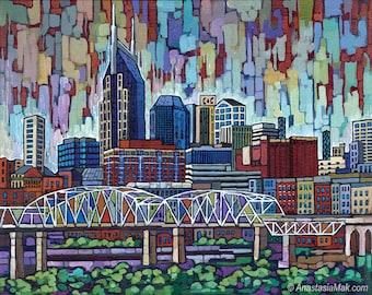 Nashville Skyline art, Nashville print, Batman building, 8x10, by Anastasia Mak