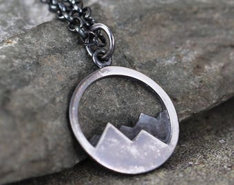 Mountain Range Pendant - Sterling Silver Rustic Necklace - Camping and Outdoor - Nature Inspired Jewellery - Hills - Mountains - Wilderness