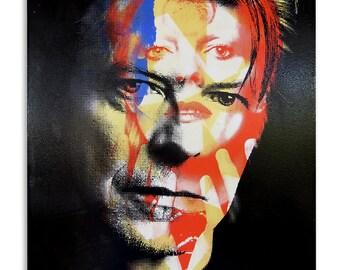 David Bowie 12x16 Screenprinted Wood Panel