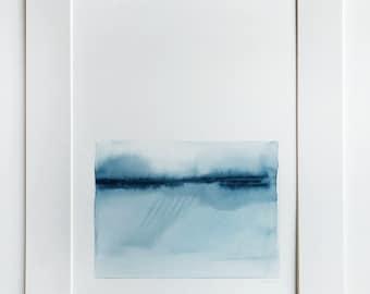 Original Watercolor Abstract Landscape Painting Monochromatic Indigo