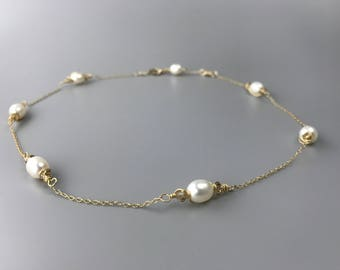 Pearl and Gold Chain Necklace - Real Pearl Necklace - Wedding Jewelry