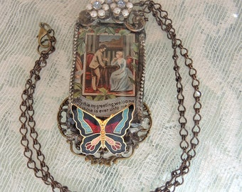 Welcome, Soldered Glass Assemblage Necklace, Victorian Assemblage Necklace, One Of A Kind Necklace - REDUCED