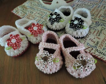 Little Loopy Bow Peep Mary Janes  Crochet Baby Girl Bootie Shoes 0-3 months