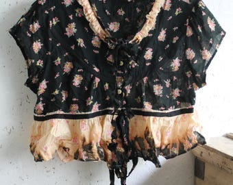 Black Floral Prairie Blouse Bleached Out Frilled Peplum Short Sleeves Wide Boxy Pretty Coral Pink Green Frilled Collarless Country Garden