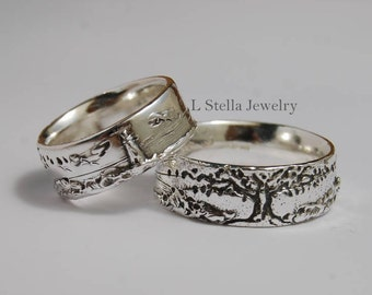 Lighthouse Tree Sunset Landscape 7mm wide band Sterling Silver Tree of life Ocean Wedding band