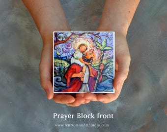 Saint Christopher Prayer Block, Protection for Travelers, Catholic Religious Gift
