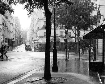 Paris Photography, Rainy Sunday Morning in Paris , Black and White Photography, Francophile Wall Art, Gallery Wall Art, Rain in Paris