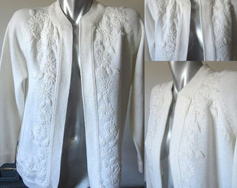 Vintage 60s White Embroidery on White Knit Open Style Knit Sweater Cardigan L / XL