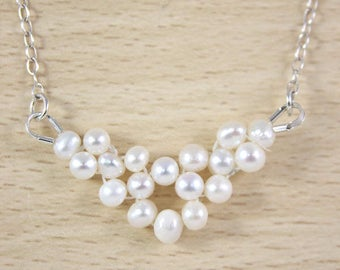 Pearl Necklace, Bridal Pearl Necklace, Freshwater Pearl Necklace, Bridesmaid Pearl Necklace, Real Pearl Necklace,