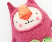 Small Sparkly Pink Stuffed Animal Cat Upcycled Sweater Repurposed