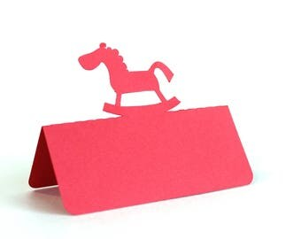 Rocking Horse Place Cards, baby shower, escort cards, baby party, baptism, baptism lunch