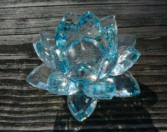 """Light Blue Crystal Lotus  - 2"""" x 3.5"""""""
