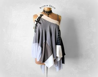 Layered Tank Top Upcycled Clothing Grey Boho Shirt Hippie Chic Style Flowy Blouse Recycled T-Shirts Bohemian Gypsy Draped Shirt M L 'MURIEL'