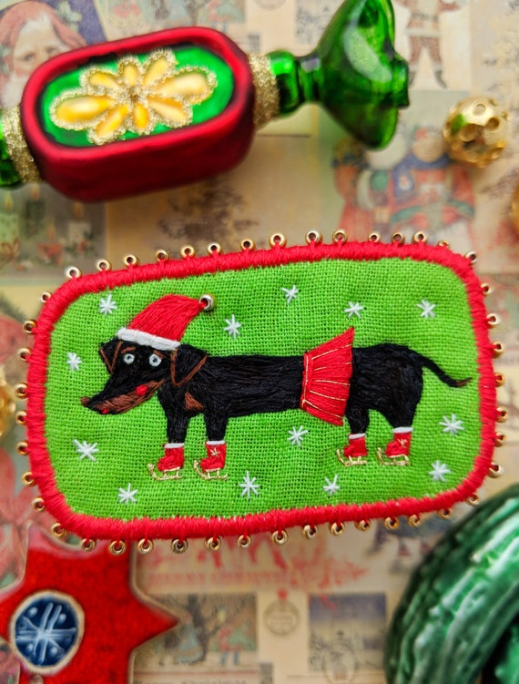 Christmas brooch with Dachshund on Ice Skates- Funny Dogs - collection, hand embroidered textile dog jewelry. Terrier brooch.