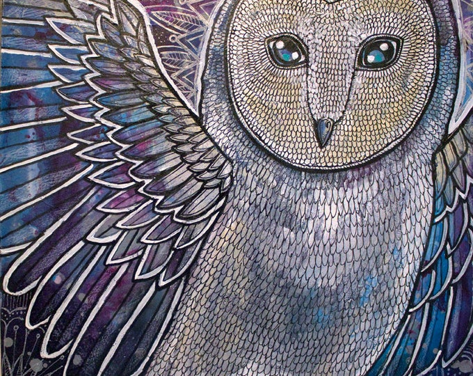 Winter Barn Owl Original Painting by Artist Lynnette Shelley